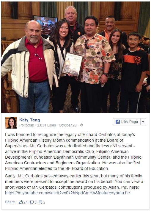 San Francisco Supervisor Katy Tang with the Cerbatos Family