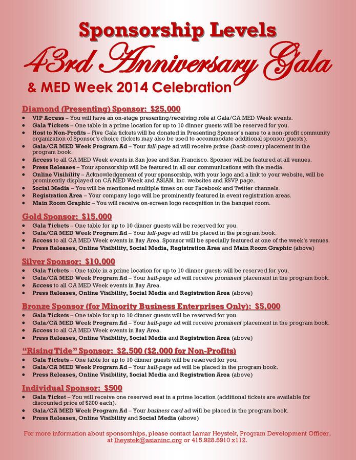Gala 2014 Sponsorship Levels